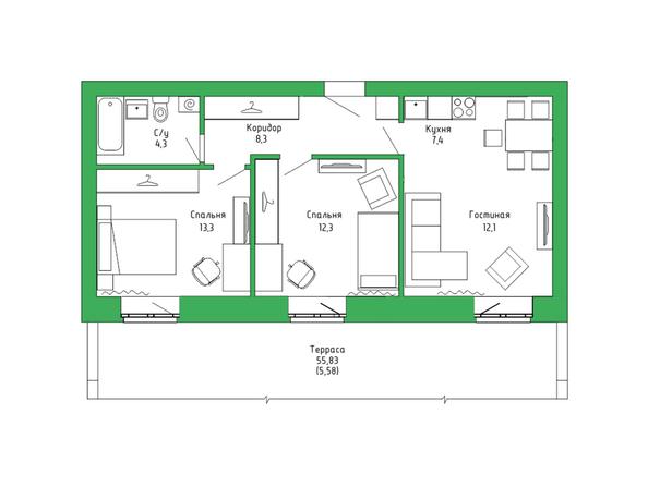 Планировка 3-комн 62,63 м²