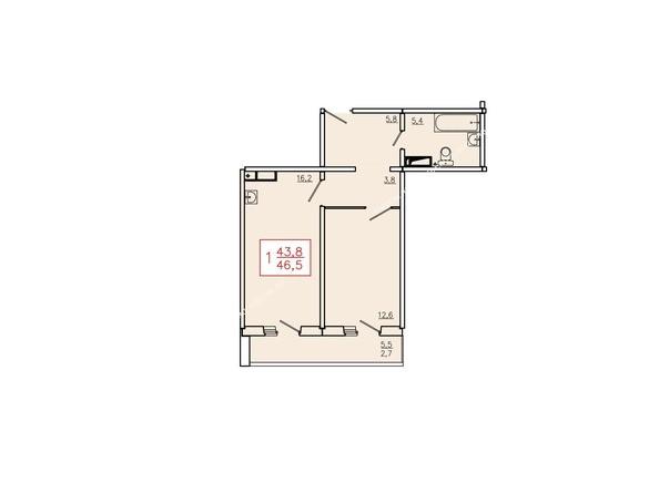 Планировки Жилой комплекс КУРЧАТОВА, дом 6, стр 2 - Планировка однокомнатной квартиры 46,5 кв.м. Этажи 2-9