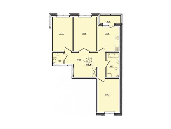 Планировки Жилой комплекс КОРИЦА, дом 3 - 3-комнатная 81,6 кв.м.