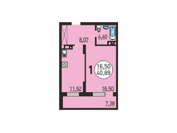1-комнатная 40.89 кв.м