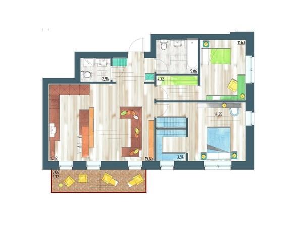 Планировки Жилой комплекс ЖИВЁМ эко-район, 5 квартал, дом 1 - Планировка трехкомнатной квартиры 87,43 кв.м