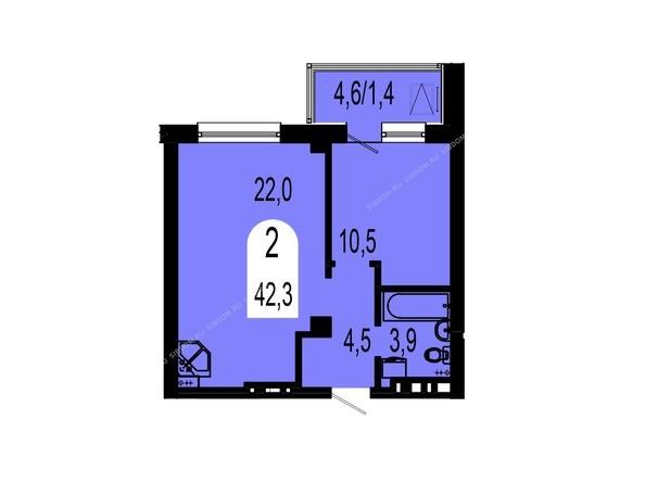Планировки Жилой комплекс ТИХИЕ ЗОРИ, дом 1 (Красстрой) - Планировка двухкомнатной квартиры 42,3 кв.м