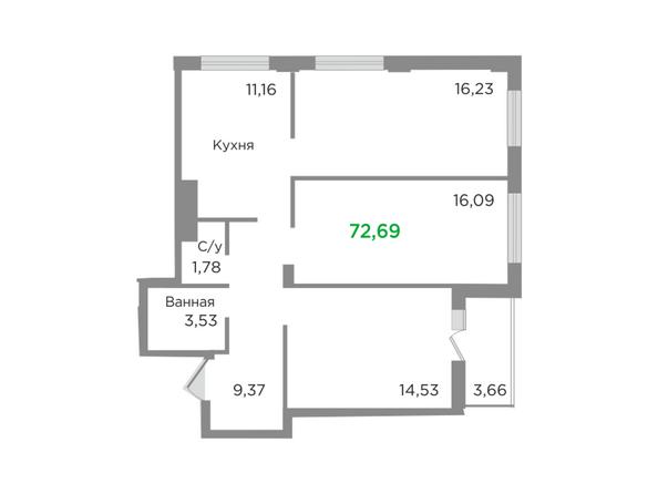 Планировки Жилой комплекс ЯСНЫЙ БЕРЕГ, дом 10, б/с 1-3  - Планировка трехкомнатной квартиры 72,69 кв.м