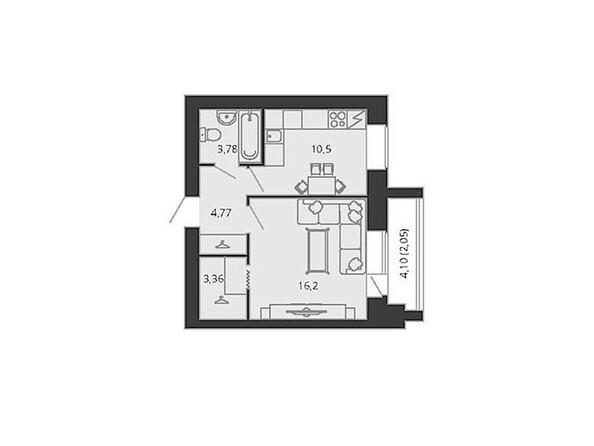 Планировка однокомнатной квартиры 40,65 кв.м