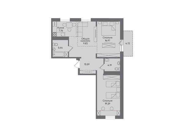 3-комнатная 83,79 кв.м