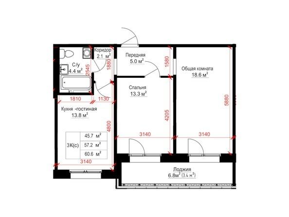 Планировки Жилой комплекс КРЫЛЬЯ, дом 14 - Планировка трёхкомнатной квартиры 60,6 кв.м.