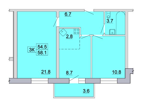 Планировка 3-комн 58,1 м²