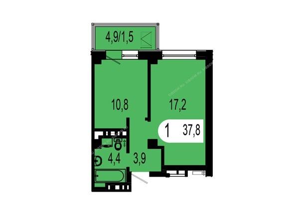Планировка однокомнатной квартиры 37,8 кв.м