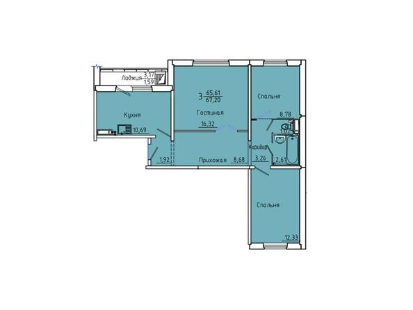 Планировки Жилой комплекс Иннокентьевский, 3 мкр, дом 6 - Планировка трехкомнатной квартиры 67,2 кв.м