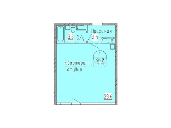 Планировка 1-комн 36,8 м²
