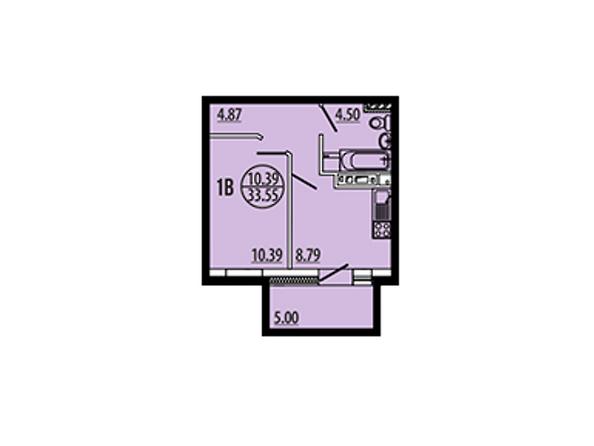 Планировки Жилой комплекс ЭВОЛЮЦИЯ, 2 оч, б/с 4-8,9,10 - Планировка однокомнатной квартиры 33,54 кв.м