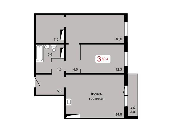 3-комнатная 80,4 кв.м