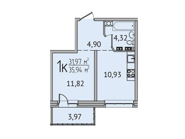 1-комнатная 35,75 кв.м