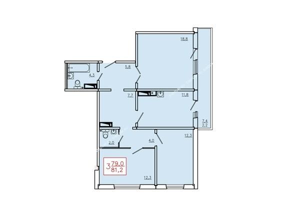 Планировки Жилой комплекс КУРЧАТОВА, дом 6, стр 2 - Планировка трехкомнатной квартиры 81,2 кв.м. Этажи 10-16
