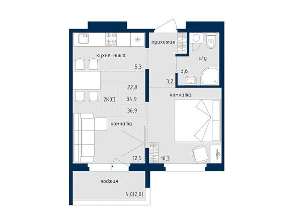 2-комнатная 36.9 кв.м