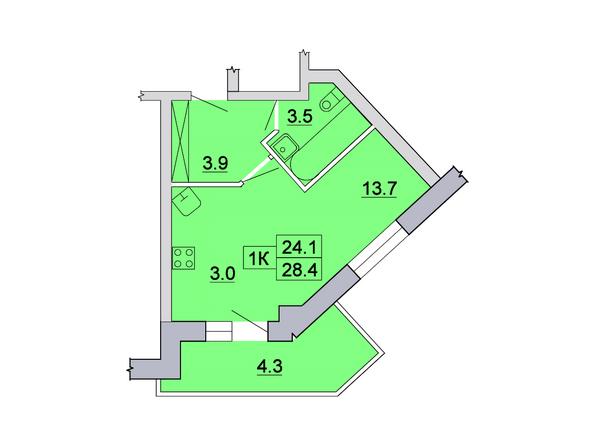 Планировка 1-комн 28,4 м²