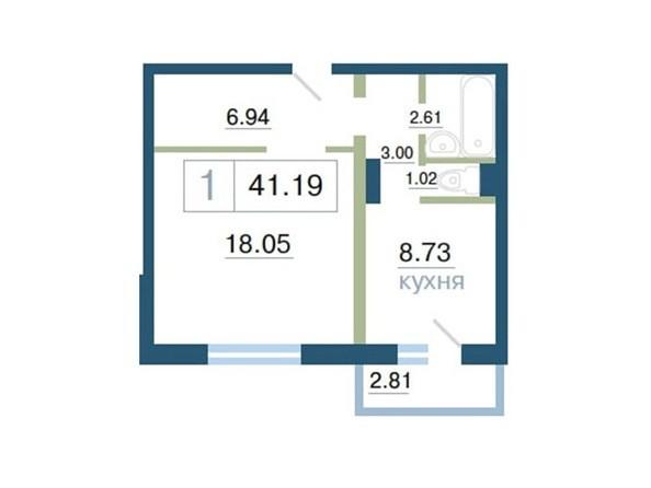Планировка 1-комн 41 - 41,25 м²