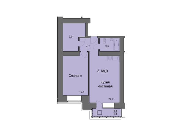 Планировки Жилой комплекс SKY SEVEN, б/с 7, 2 оч - Планировка двухкомнатной квартиры 68,1 кв.м