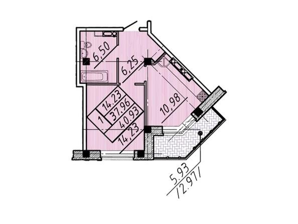 1-комнатная 40,93 кв.м