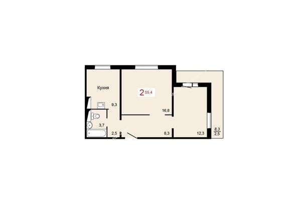 Планировки Жилой комплекс КУРЧАТОВА, дом 6, стр 1 - 3 блок-секция. Планировка двухкомнатной квартиры 55,4 кв.м