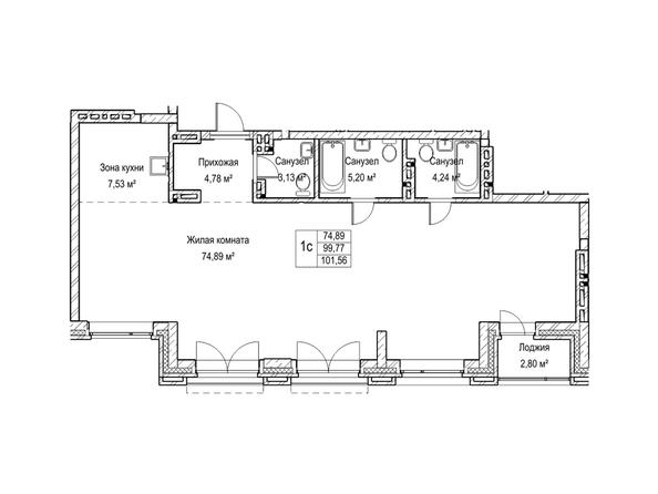 Планировки Жилой комплекс ЯДРИНЦЕВСКИЙ КВАРТАЛ - 1-комнатная студия 99,7 кв.м. Блок-секция 3