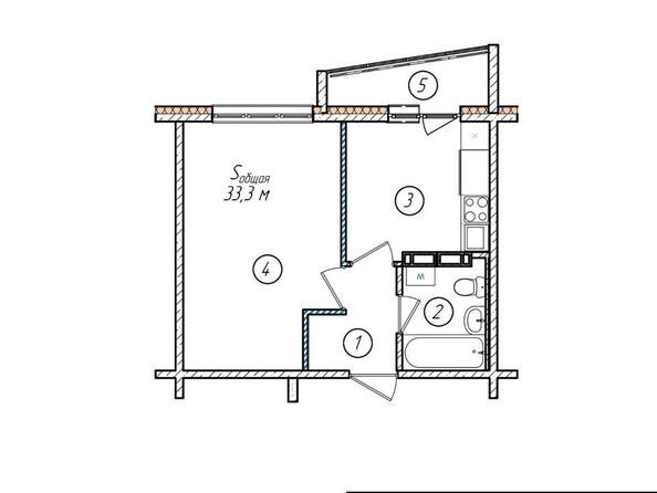 Планировки Жилой комплекс МОСКОВСКИЙ ПРОСПЕКТ, дом 11 - Планировка однокомнатной квартиры 33,3 кв.м