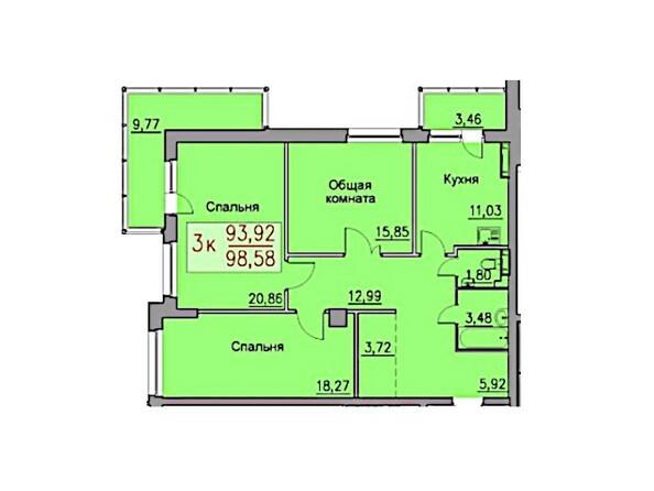 3-комнатная 98.58 кв.м