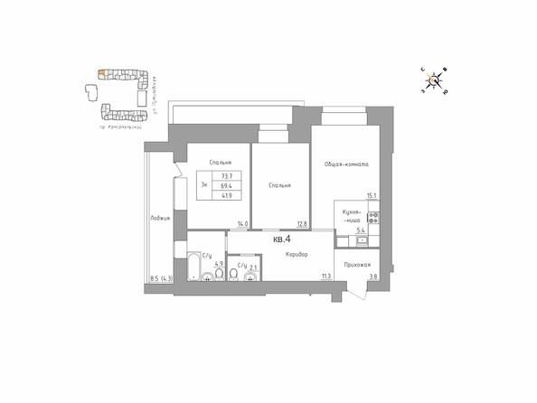 Планировки Жилой комплекс ДВЕ ЭПОХИ, корпус 3 - 3-комнатная 73,7 кв.м