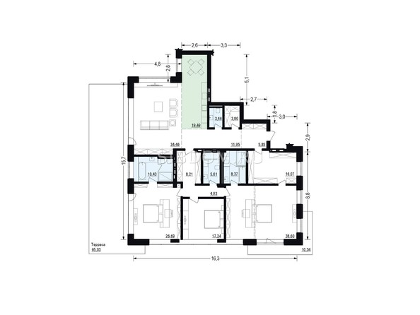 Планировки Жилой комплекс ЖУКОВКА, б/с 4 - Планировка четырехкомнатной квартиры 215,16 кв.м