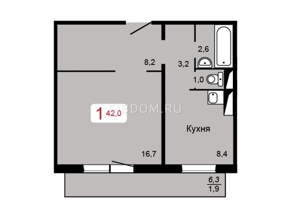 Планировка 1-комн 42 м²