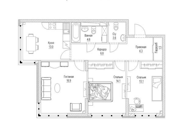 Планировка 3-комн 79,4 м²