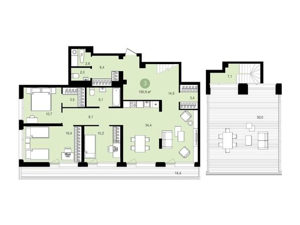 Планировка 3-комн 190,9, 190,91 м²