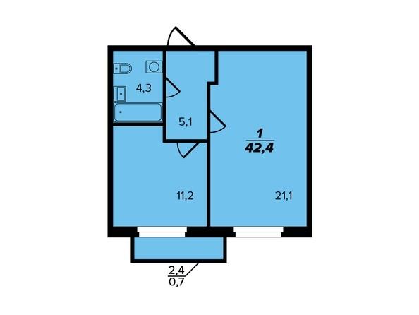 Планировка 1-комн 42,4 м²