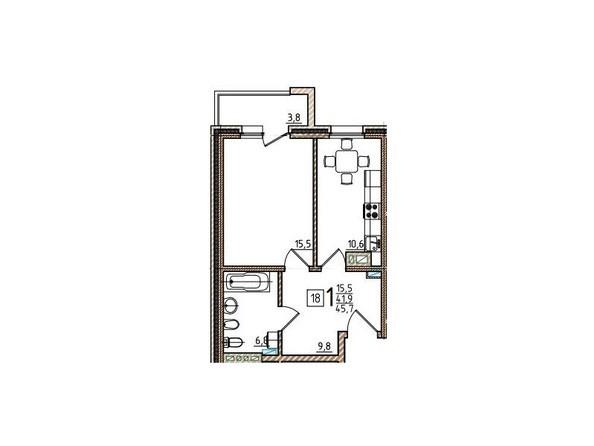 1-комнатная 45,7 кв.м
