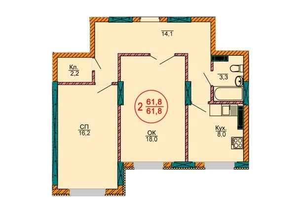 2-комнатная 61.8 кв.м