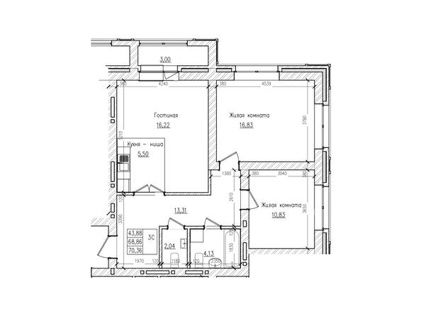 Планировки Жилой комплекс КРАСНЫЙ ПРОСПЕКТ, дом 2 - 3-комнатная 68,8 кв.м