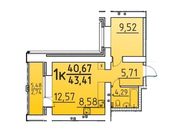 Планировка 1-комн 43,41 м²