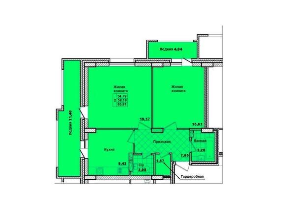 Планировки Жилой комплекс НА КОРОЛЁВА, 2 оч, дом 1 - Планировка двухкомнатной квартиры 65,91 кв.м.
