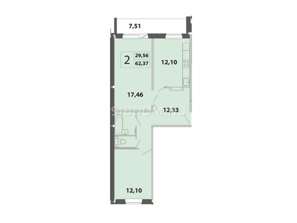 Планировка 2-комн 62,37 м²