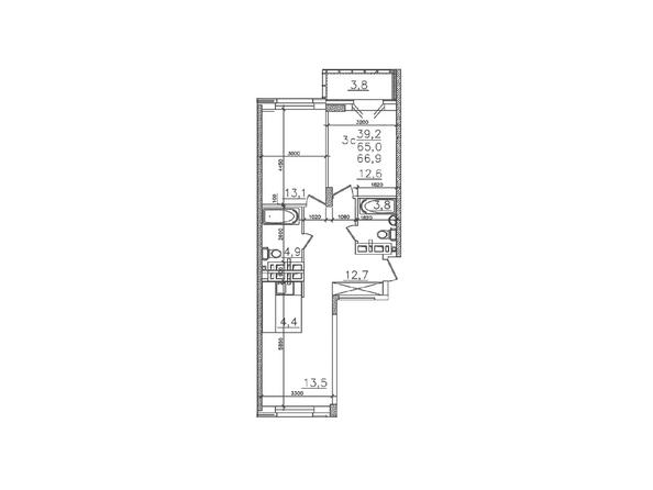 Планировки Жилой комплекс ЗОЛОТАЯ НИВА, дом 1 - Планировка трехкомнатной квартиры 65 кв.м