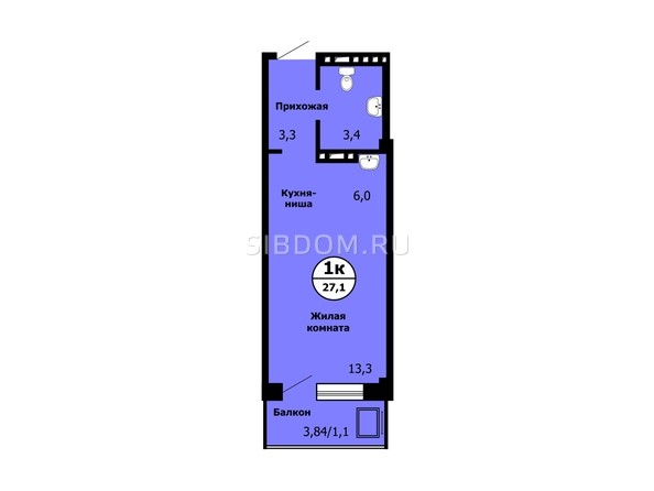 Планировка Студия 27, 27,1 м²