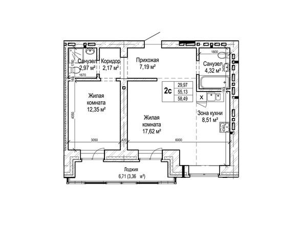 Планировки Жилой комплекс ГРИНАРТ, дом 5 - Планировка двухкомнатной квартиры 58,49 кв.м.