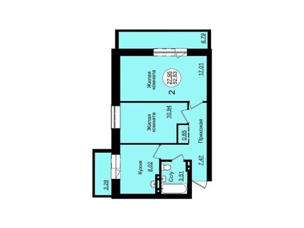 Планировки Жилой комплекс ГВАРДЕЙСКИЙ - Планировка двухкомнатной квартиры 52,83 кв.м