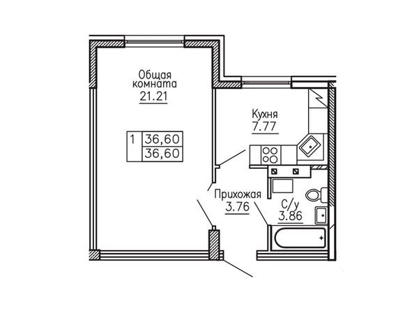 1-комнатная 36.6 кв.м