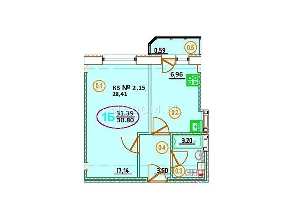 Планировка 1-комн 31,39 м²