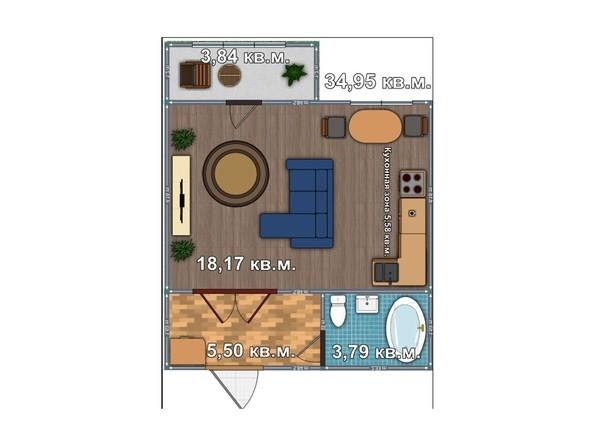 Планировка 1-комнатной квартиры 34,95 кв.м