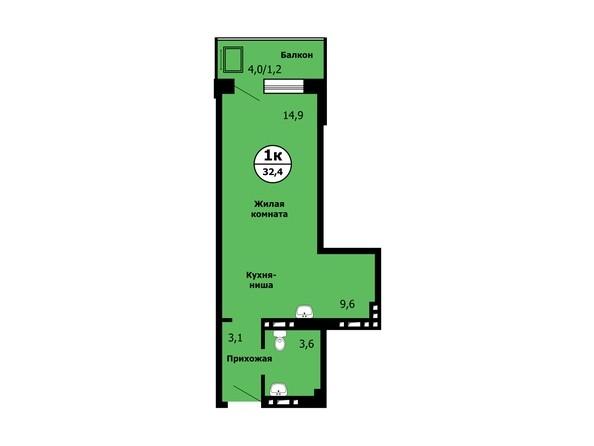 Планировка Студия 32,4, 32,8 м²