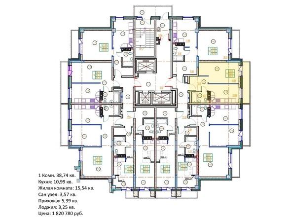 Планировки Жилой комплекс ГЛОБУС ЮГ, дом 9 - 1-комнатная 38,74 кв.м.