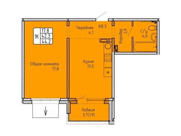 Планировка 1-комн 44, 44,2 м²