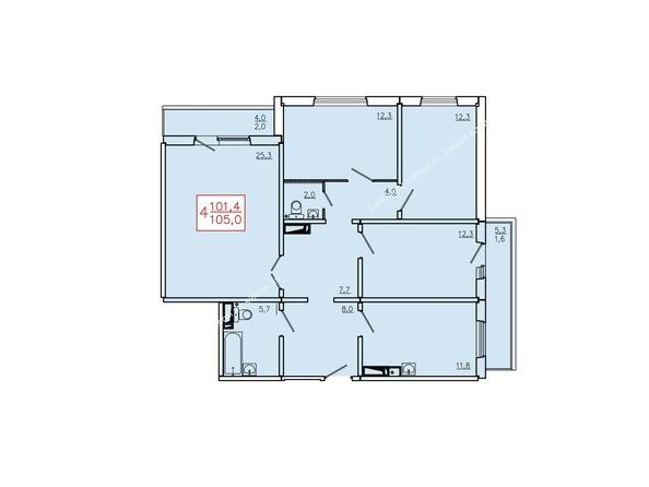 Планировки Жилой комплекс КУРЧАТОВА, дом 6, стр 2 - Планировка четырехкомнатной квартиры 105 кв.м. Этажи 2-9